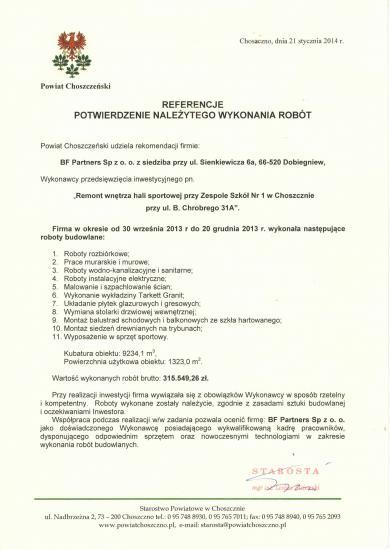 Referencje od Starosty Powiatu Choszczeńskiego
