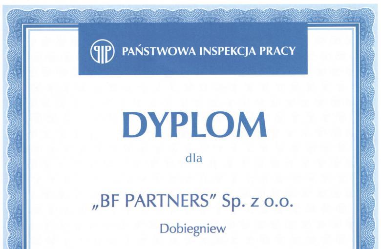Dyplom od Państwowej Inspekcji Pracy